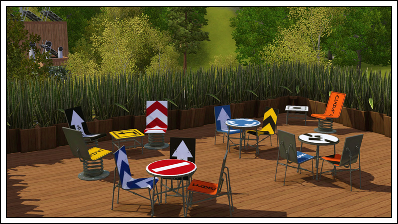 Around The Sims Custom Content Downloads Objects Outdoor - Road sign furniture